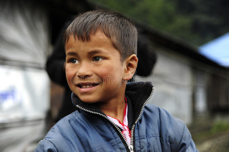 Nepalese children. Baglung, Nepal. Nepalese boy who lives in the path of the Annapurna royalty free stock photos