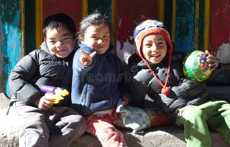 Nepalese children from Namche Bazaar, Nepal royalty free stock photography