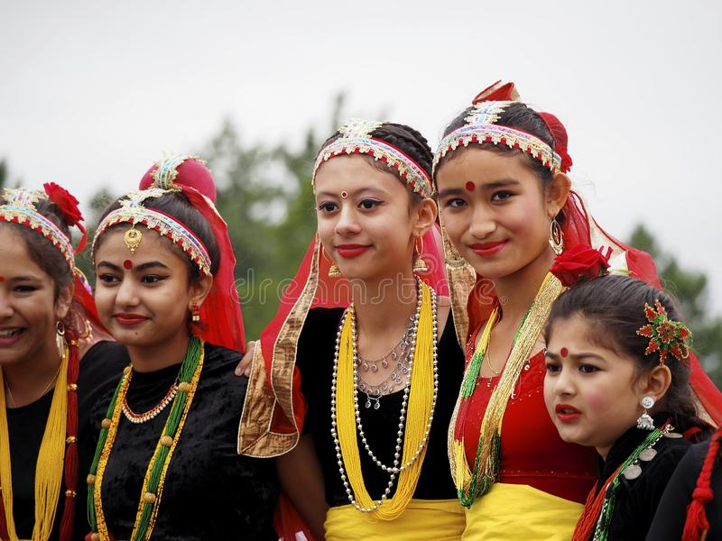 Nepalese Dancers In Traditional Dress. At Edmonton Alberta Heritage Days Celebration August 11, 2019 stock photo