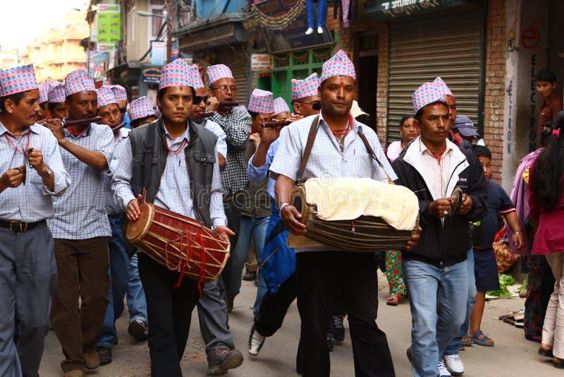 Nepalese, der das RAM Nawami Festival feiert stockbild