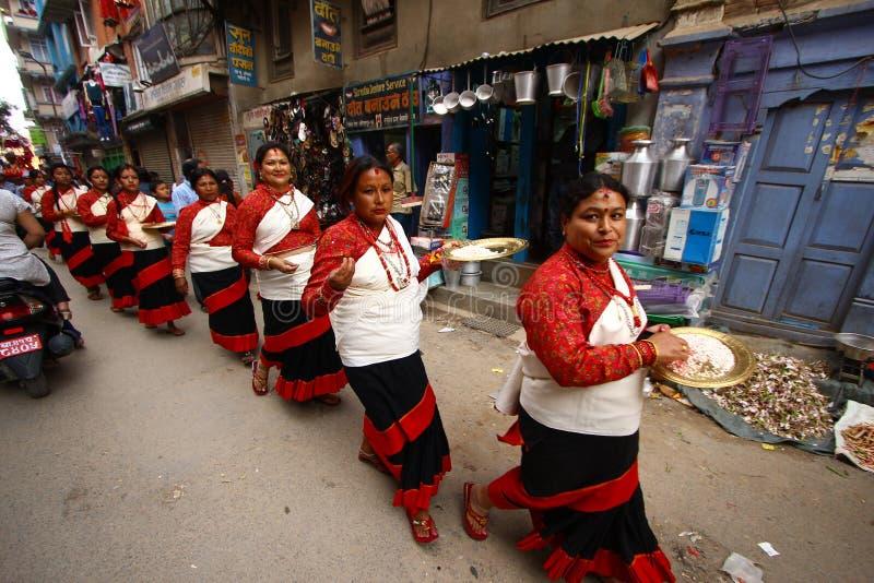 Nepalese, der das RAM Nawami Festival feiert stockbilder