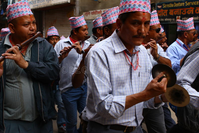 Nepalese, der das RAM Nawami Festival feiert lizenzfreies stockbild