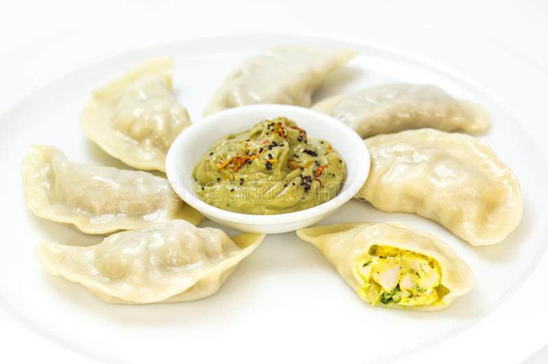 Nepalese food momo. On a white background in the restaurant stock images