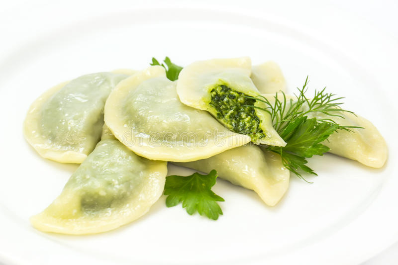 Nepalese food momo. On a white background in the restaurant stock photography