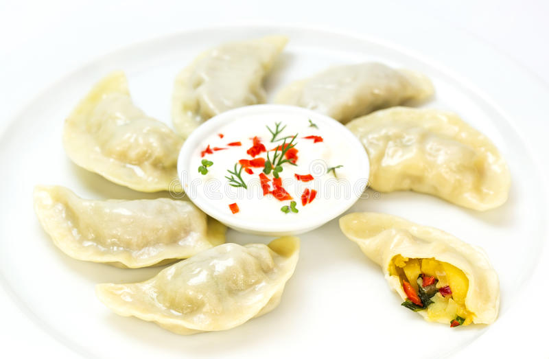 Nepalese food momo. On a white background in the restaurant royalty free stock photography
