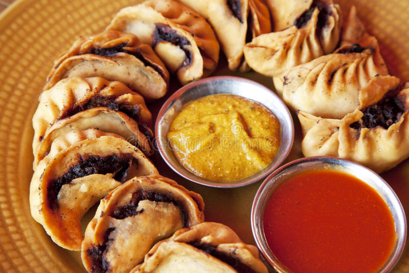Nepalese Fried Momos. Image of traditional Nepalese fried momos stock photos