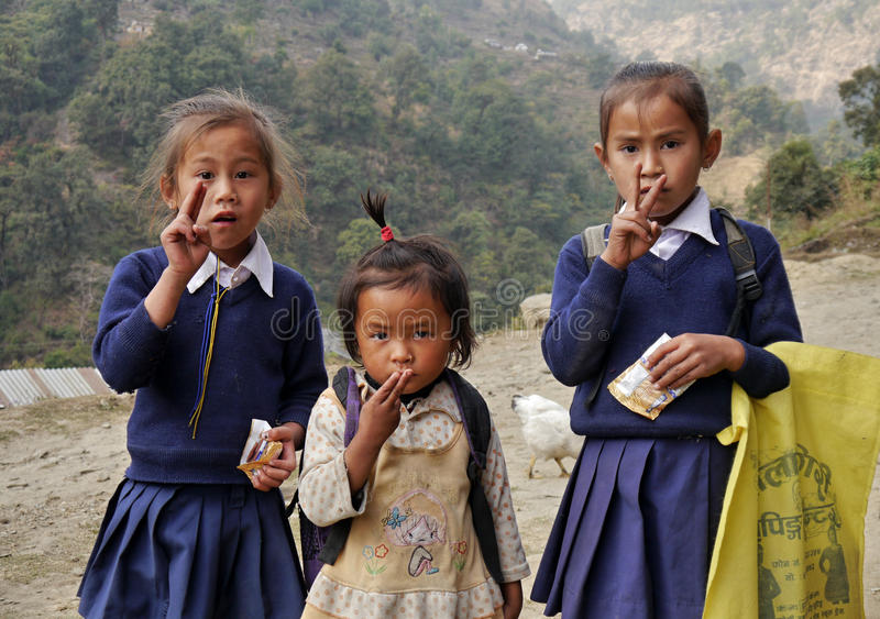 Download Nepalese girls children editorial photography. Image of hair - 80651222