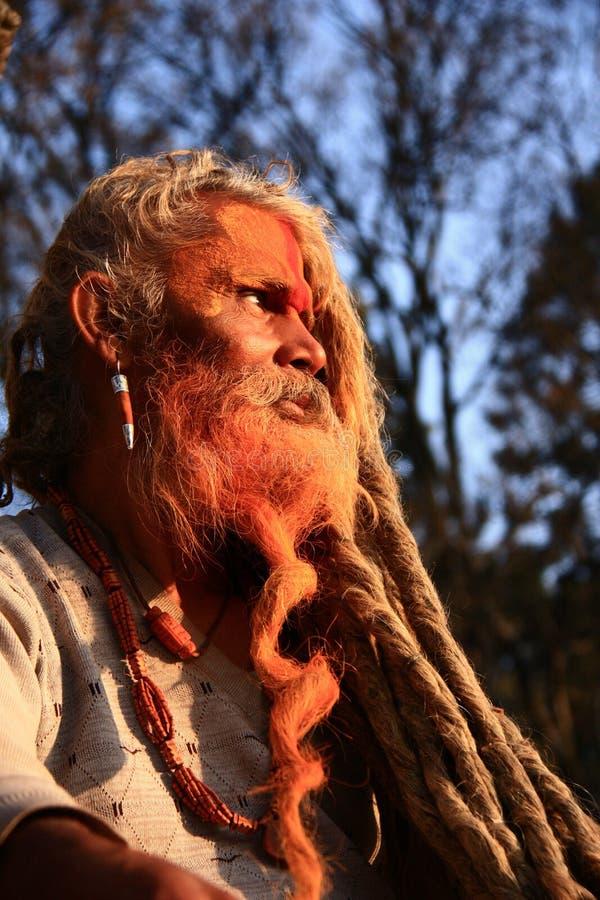 Nepalese holy man. Nepalese Hindu holy man, or Saddhu, in Kathmandu valley royalty free stock photos