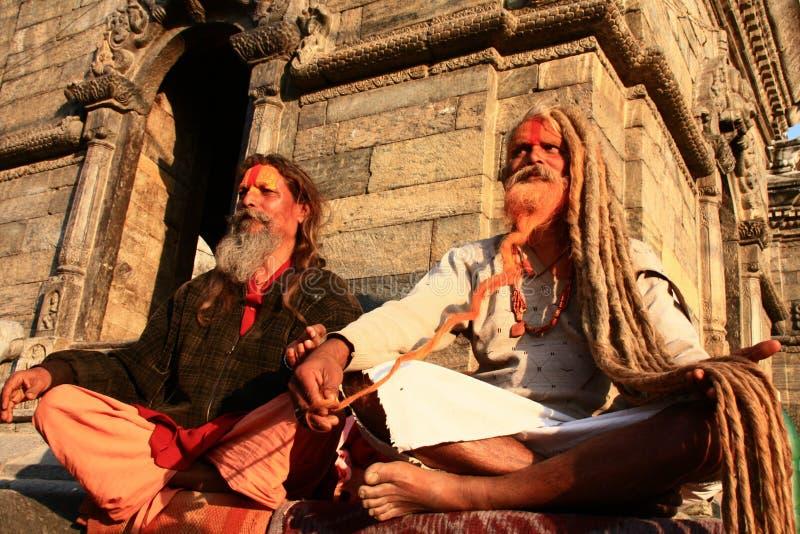Nepalese holy men. Nepalese Hindu holy men, or Saddhu, in Kathmandu valley stock photos