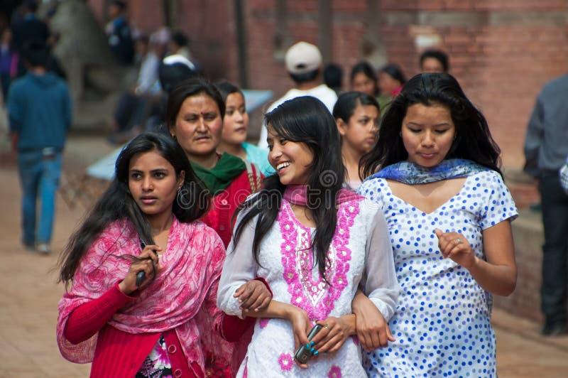 Nepalese. Kathmandu, Nepal - March 09, 2013: Group of Nepalese people stock photos