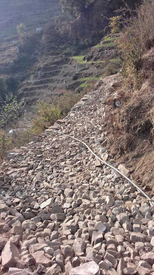 Nepalese Mountain Village Area Natural Scene Trekking Road with stone. Nepalese Village Area Natural Scene Level with mountain situated highest hilly region stock images