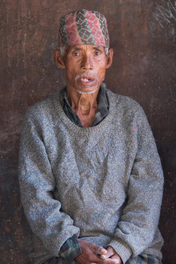 Nepalese old peasant stock photography