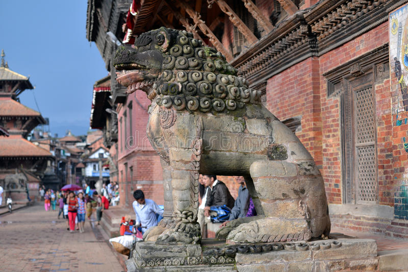 Nepalese people on the streets of Patan. KATHMANDU, NEPAL - SEPTEMBBER 28: Crowd of local Nepalese people on the streets of Patan during the Dashain festival in stock photography