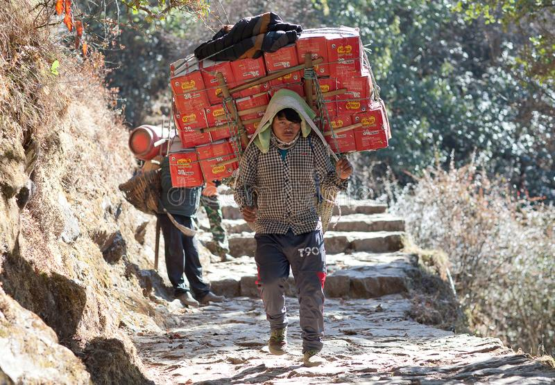 Nepalese porter carrying a heavy load in Nepal Himalayas. NAMCHE BAZAAR, NEPAL - JANUARY 18, 2017: Nepalese porter carrying a heavy load to the pass in royalty free stock images