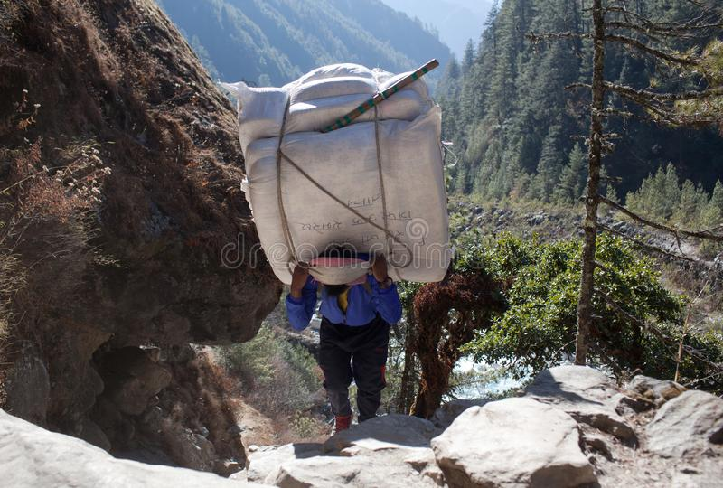 Nepalese porter carrying a heavy load, Nepal Himalayas. NAMCHE BAZAAR, NEPAL - JANUARY 17, 2017: Nepalese porter carrying a heavy load to the pass in Sagarmatha royalty free stock images