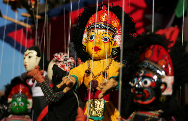 Nepalese Puppet. I found it in Katmandu, when I were walking in the great Durbar Square stock photography