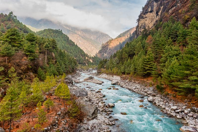 Nepalese river and valley royalty free stock photography