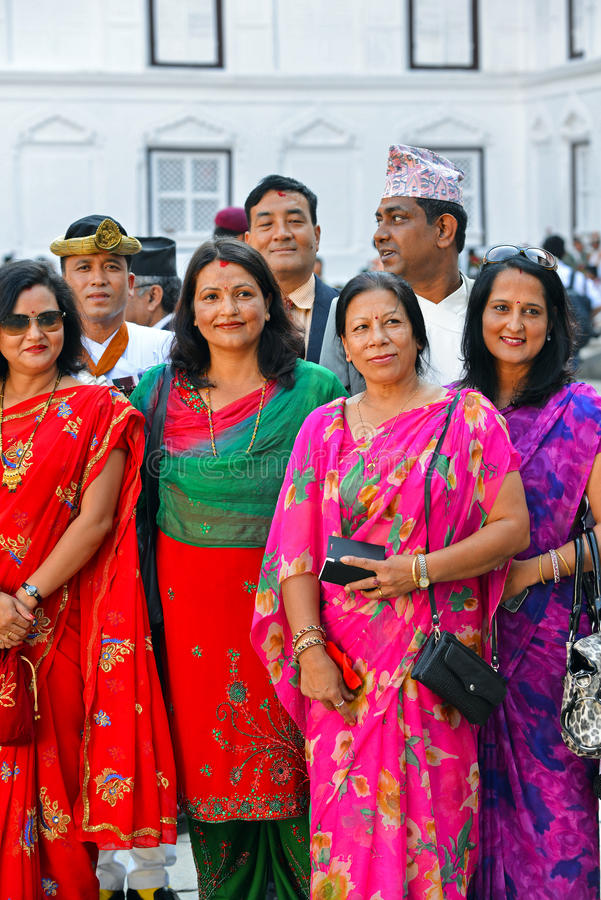 Nepalese Royal family, high society members. KATHMANDU, OCT 11, People of the Nepalese high society, politicians and businesswomen, gathered in the Royal Palace stock photo