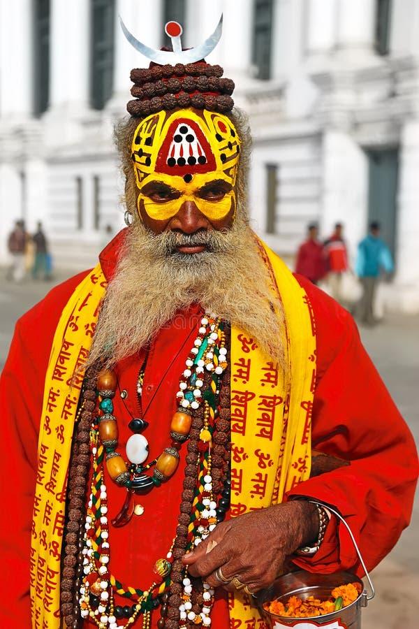 Nepalese sadhu. On the Durbar square in Kathmandu royalty free stock photography