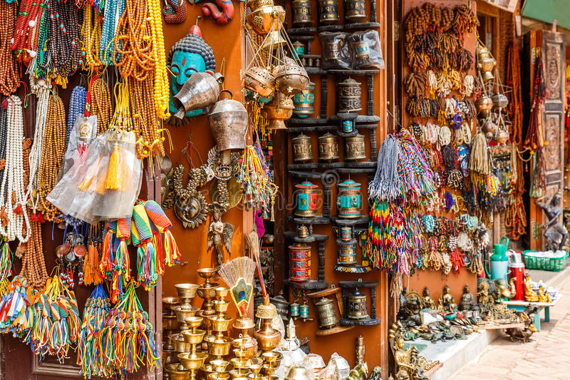 Nepalese souvenir shop. Close up photo of a souvenir shop in Kathmandu royalty free stock photos