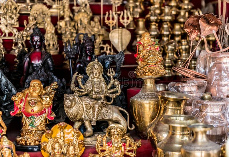 Nepalese souvenirs close-up. In Kathmandu royalty free stock photos
