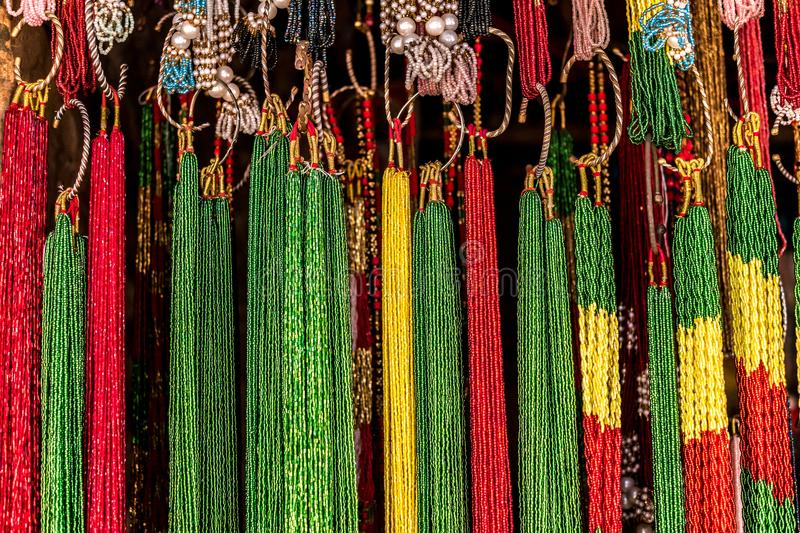 Nepalese souvenirs close-up. In Kathmandu stock photography