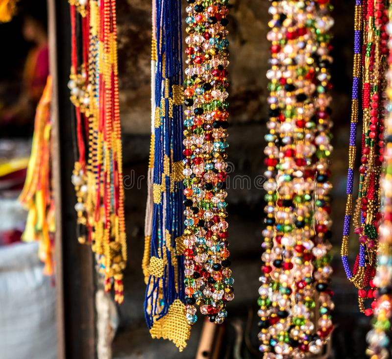 Nepalese souvenirs close-up. In Kathmandu stock photo