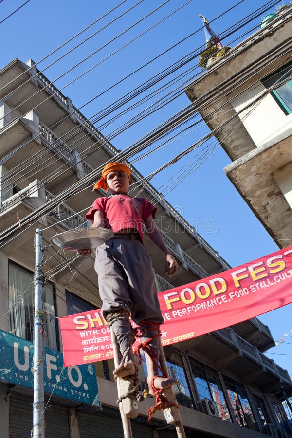 Nepalese street acrobat royalty free stock photos