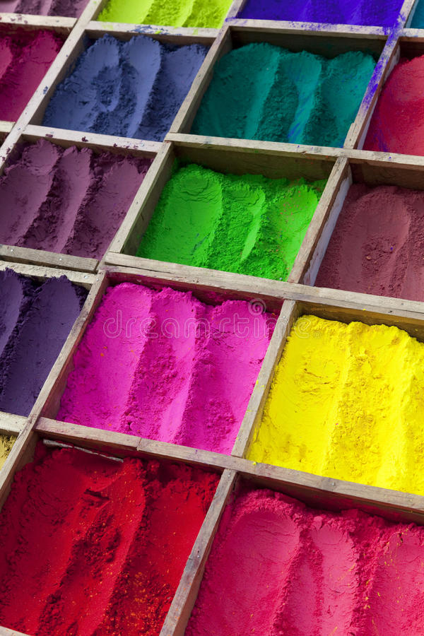Nepalese Tikka Powder in Various Colours. Image of traditional Nepalese tikka powder in various colours royalty free stock photos