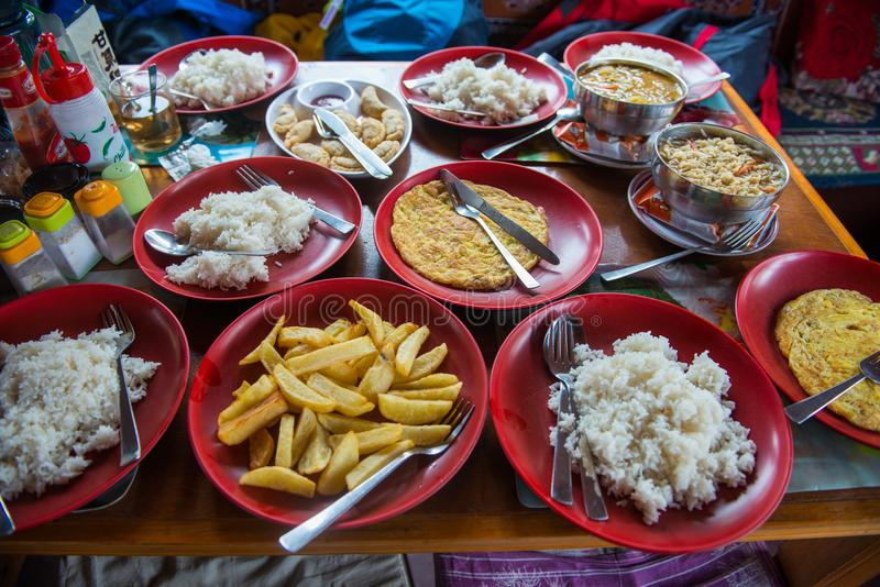 Nepalese trekking food on the mountain royalty free stock image