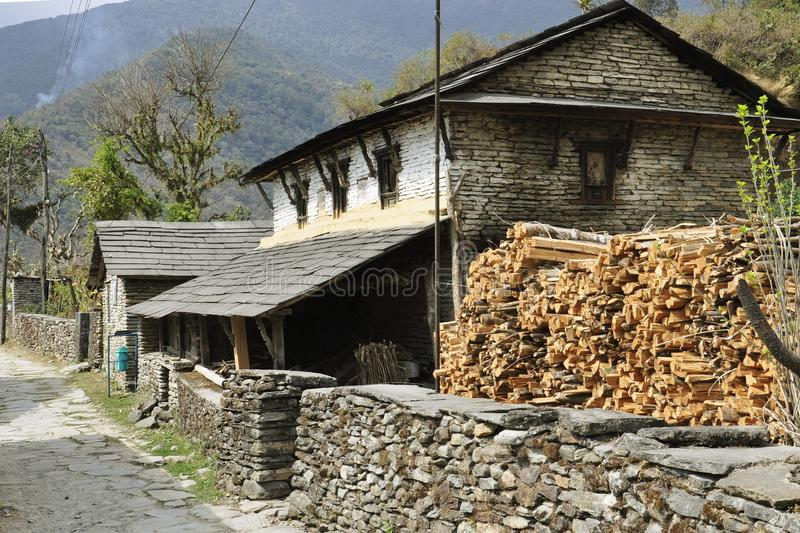 Nepalese village, traditional houses. Nepalese village Nepal, Pokhara, Sardi Khola :Nepalese village, traditional houses royalty free stock photos