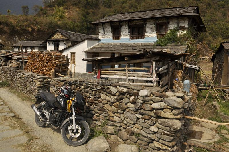Nepalese village, traditional houses. stock images