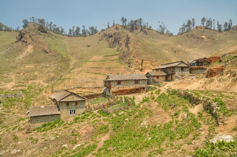 Nepalese village. Picturesque view of old traditional Nepalese village royalty free stock photos