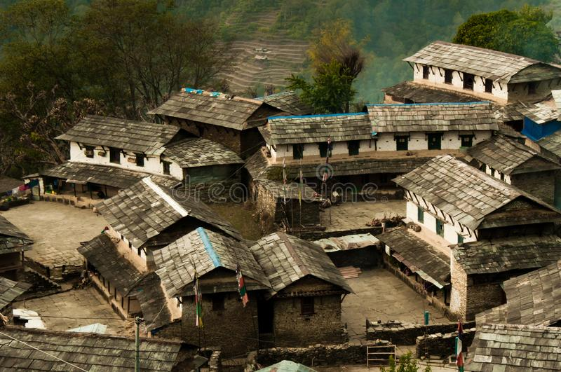 Nepalese village.Traditional Nepalese house, trekking to the Ann stock photography