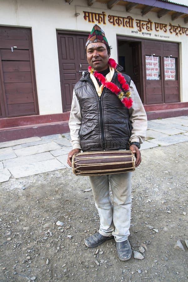 Nepalese während ein der Festivals stockfotografie