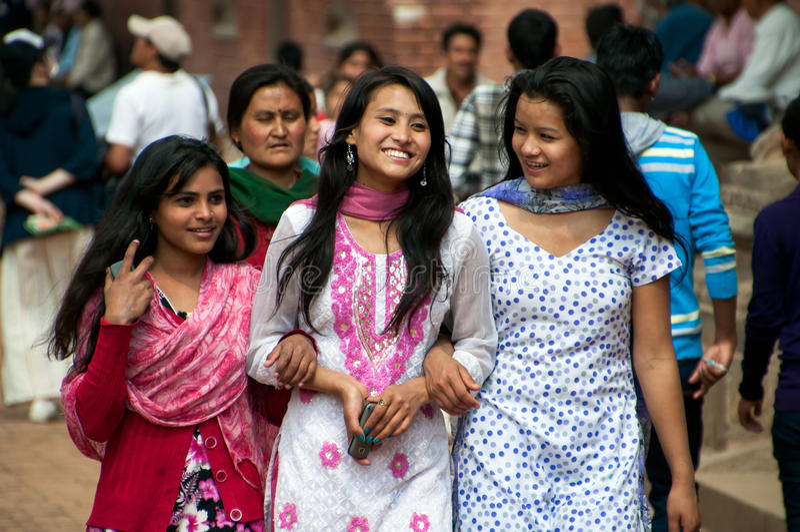 Nepalese Young Women. Kathmandu, Nepal - March 09, 2013: Group of Nepalese people stock photos