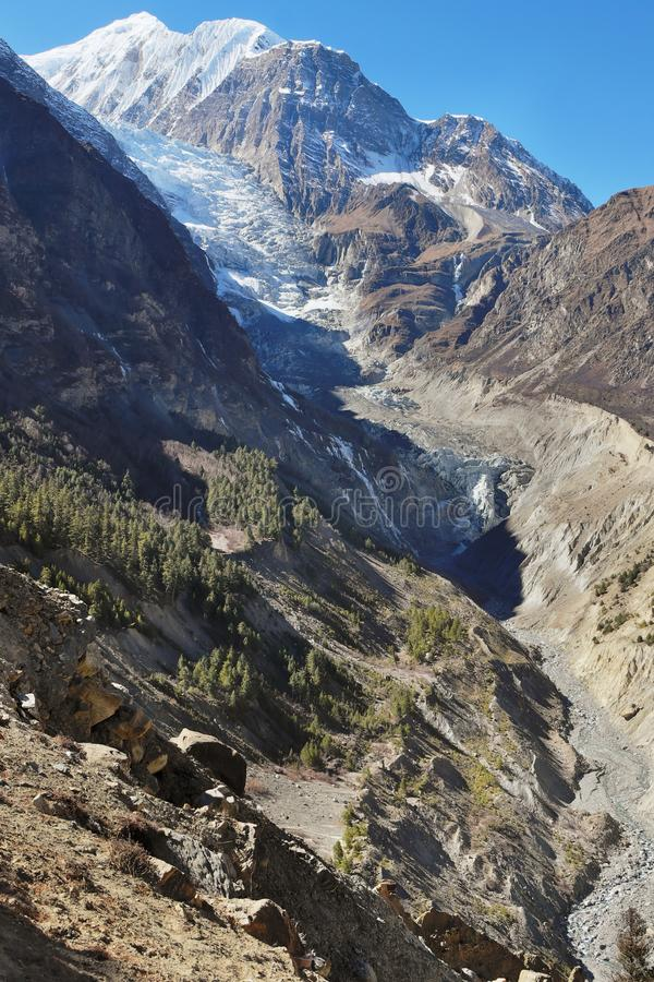 Nepalesischer Himalaja Gangapurna-Gletscher lizenzfreies stockfoto