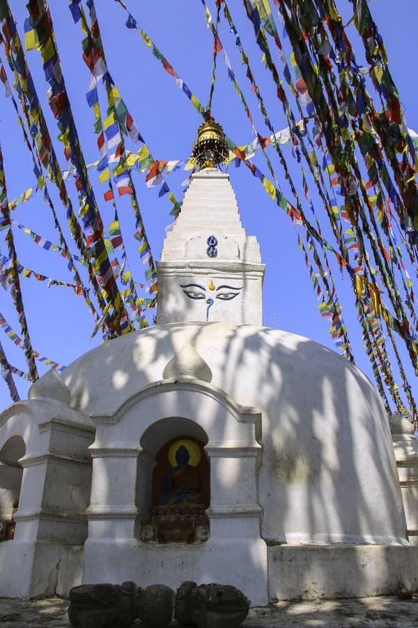 Nepalesisk vit buddistisk stupa med ögat av Buddha, Katmandu, royaltyfria foton