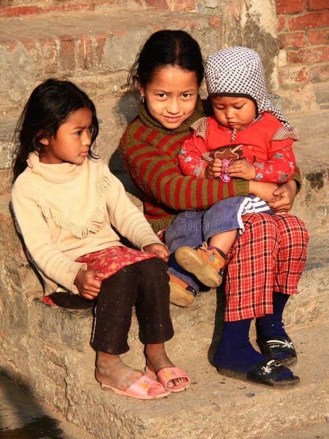 Nepalesiska flickor arkivbild