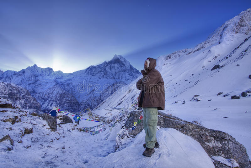 Nepali guide at the annapurna base camp royalty free stock images