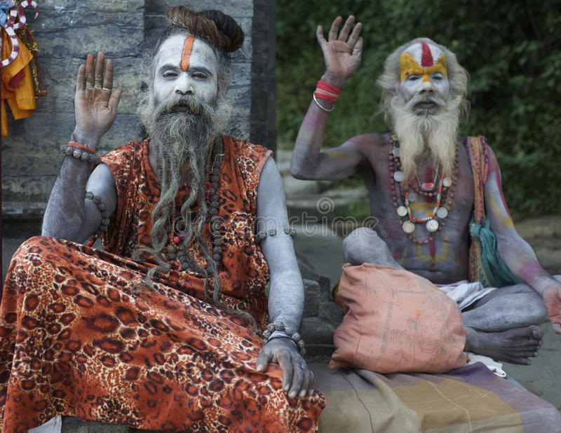 Nepali Sadhus. Resting on a mountainside royalty free stock images