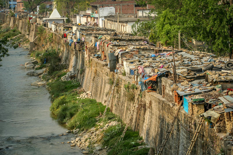 Nepali slums. Slums by the river in the Nepali town Butwal stock photo