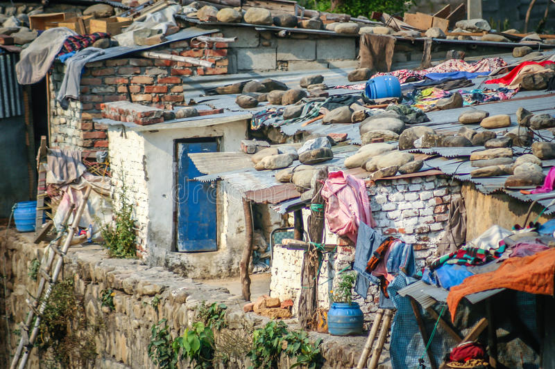 Nepali slums. Slums by the river in the Nepali town Butwal royalty free stock image