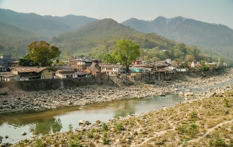 Nepali town suburb. Houses by the river in the Nepali town Butwal stock images