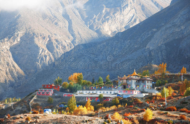 Nepali village of Muktinath. Along the Annapurna circuit trail royalty free stock photos