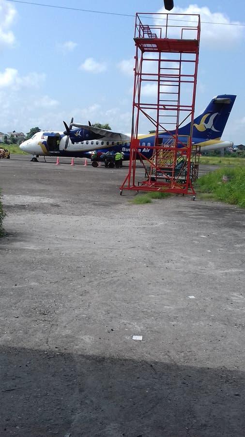 NEPALS Aeroplane aircraft landing royalty free stock images