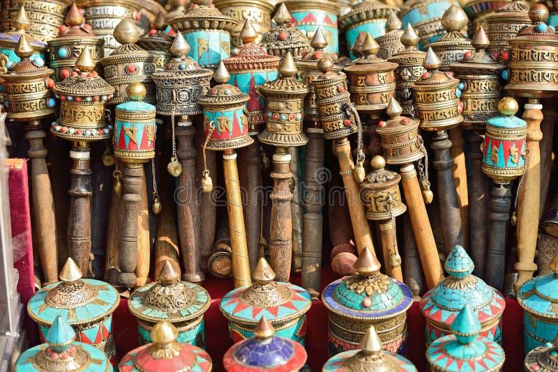 Nepalscy Modlitewni koła na swayambhunath stupie w Kathmandu, Nepa obraz royalty free
