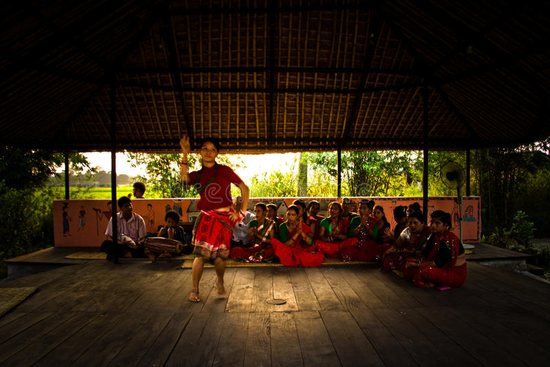 Nepalska kobieta tanczy tradycyjnego tana w Chitwan, Nepal zdjęcia stock