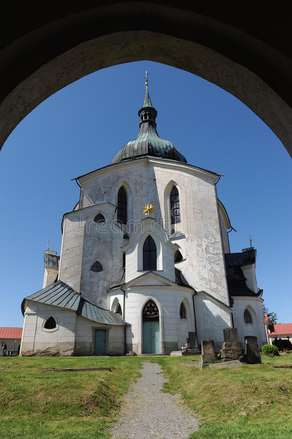 Nepomuk的圣约翰香客教会在Zelena Hora的在Zdar nad Sazavou,捷克,世界遗产名录Si附近 图库摄影