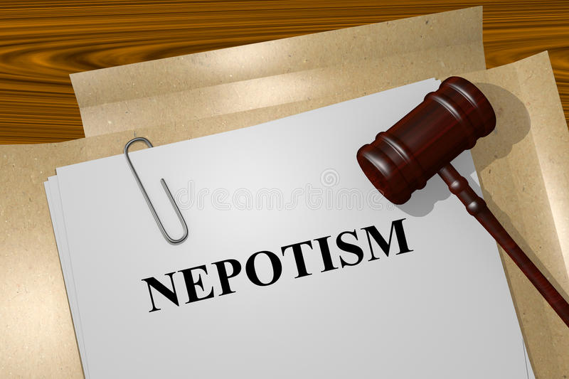 Nepotism concept. Render illustration of Nepotism title on Legal Documents royalty free stock photos